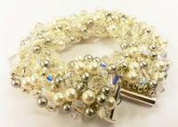 Encrusted Beadwork Bracelet Jewellery Making Kit with SWAROVSKI® ELEMENTS crystal and pearl beads Cream and Silver